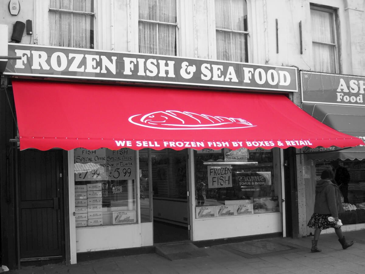 Frozen Fish & Seafood Awning red
