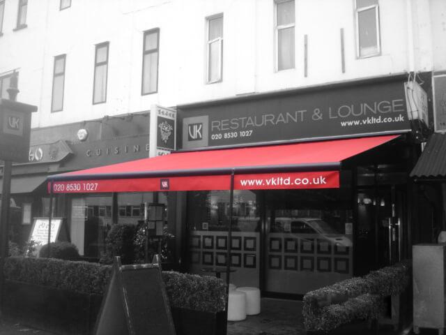 VK Restaurant red awning in London