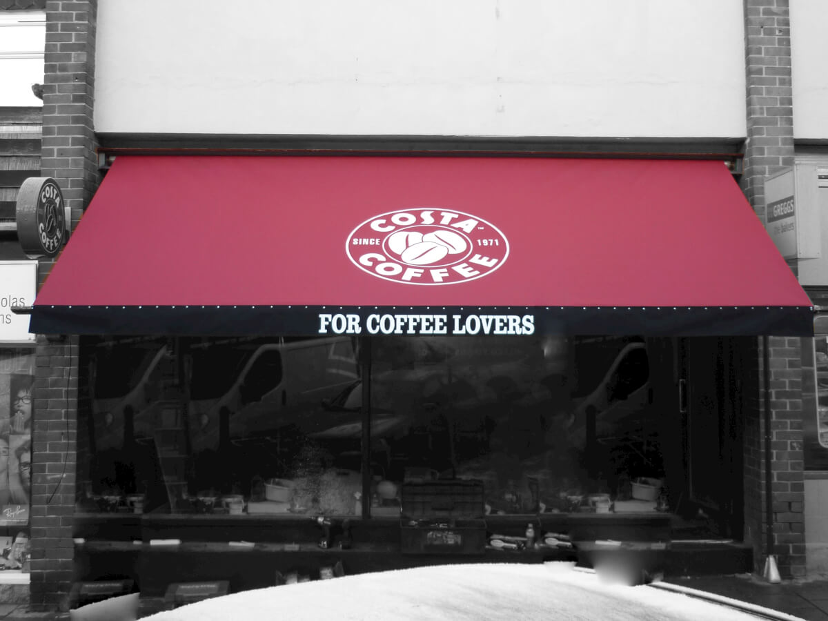 red/black costa coffee awning