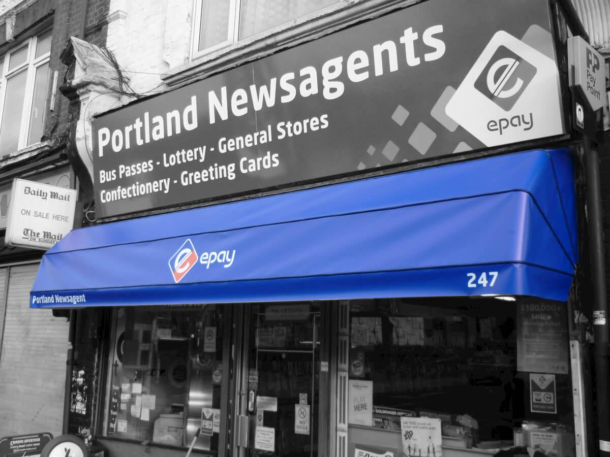 Portland Newsagents Blue canopy