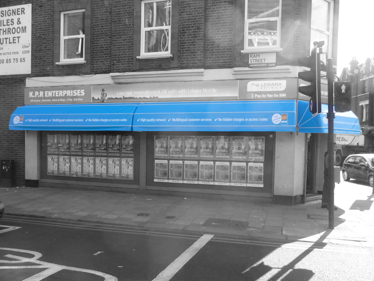 Blue Canopies for local shop