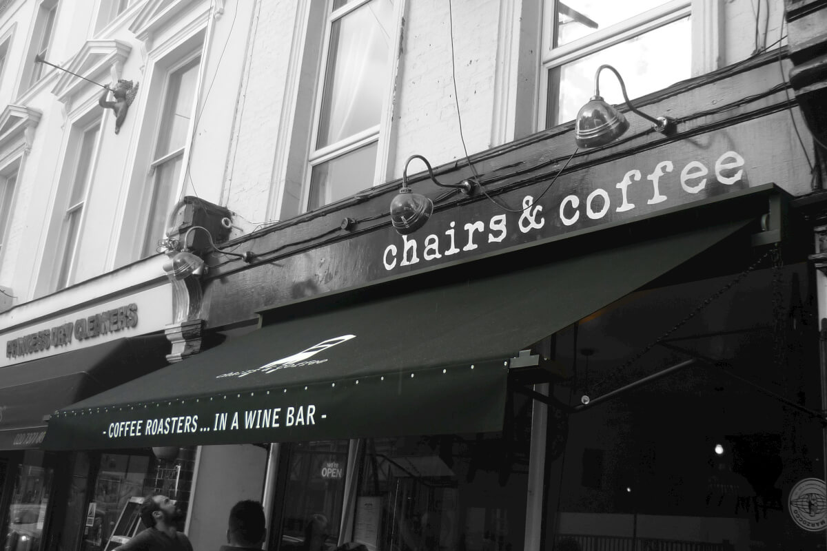 Black Awning for Coffee place in London