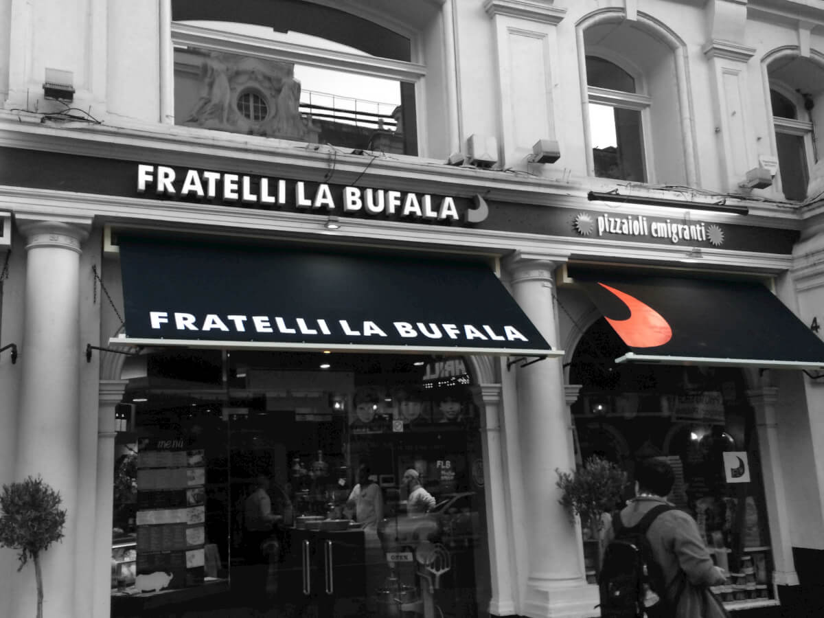 Black Awning for Pizzeria in London